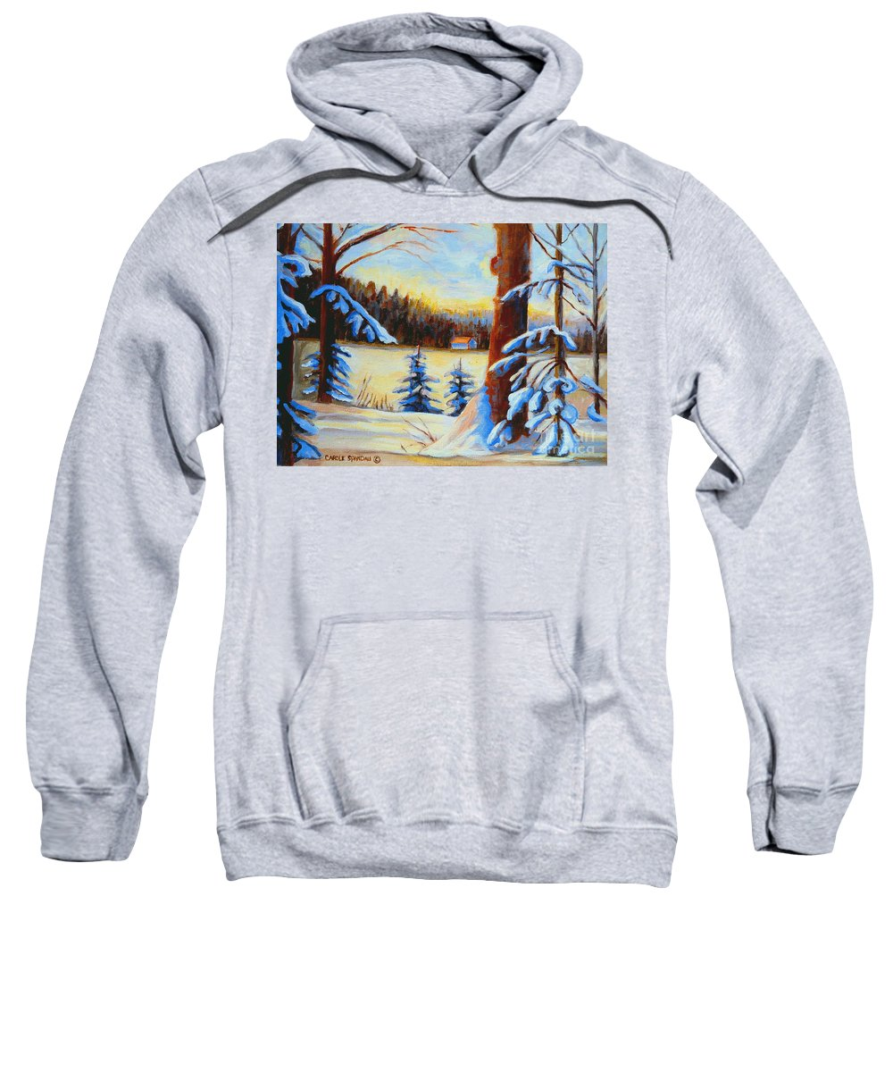 Vermont Sweatshirt featuring the painting Vermont Log Cabin Maple Syrup Time by Carole Spandau