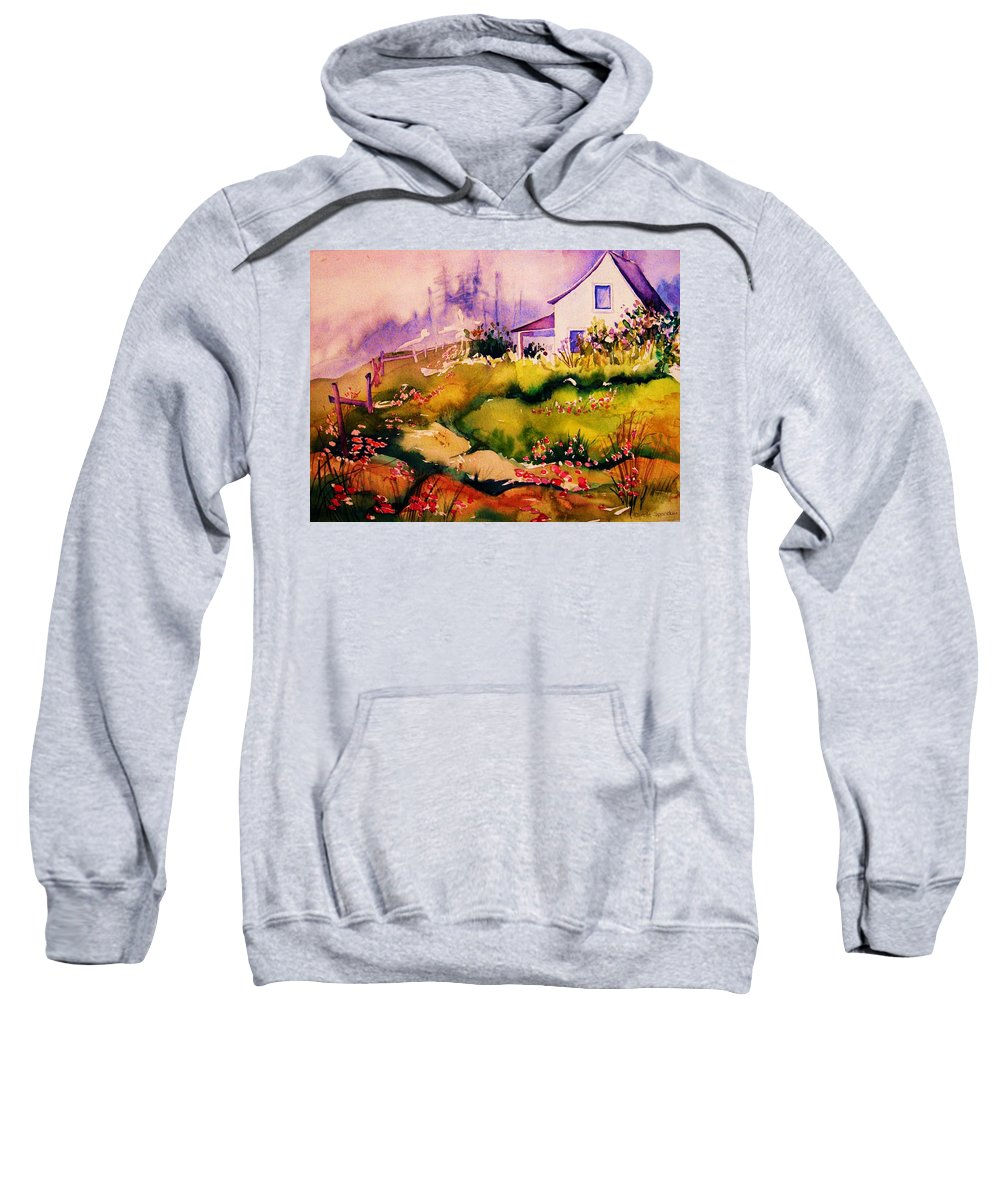 Cottagescenes Sweatshirt featuring the painting Vermont Summers by Carole Spandau