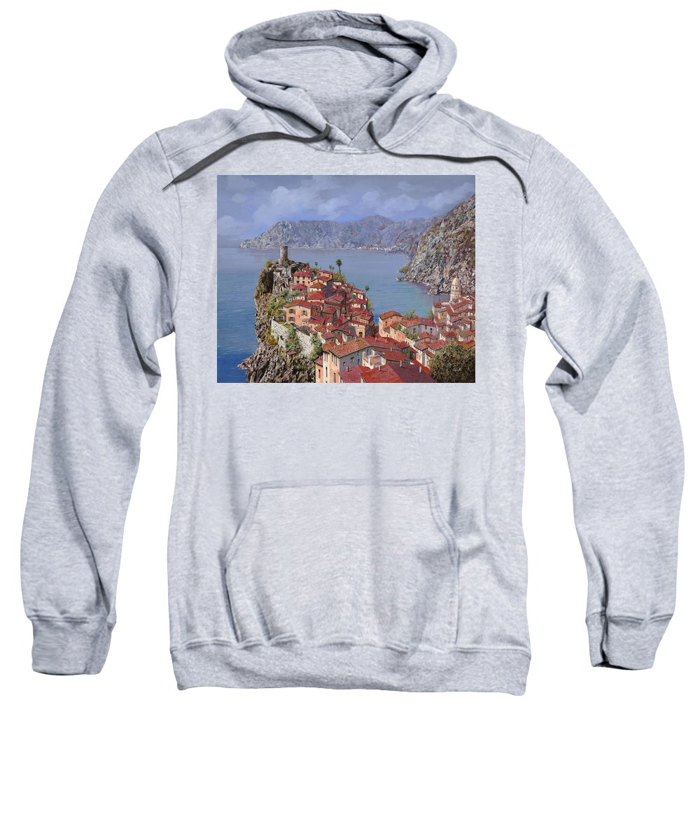 Seascapes Sweatshirt featuring the painting Vernazza-cinque Terre by Guido Borelli