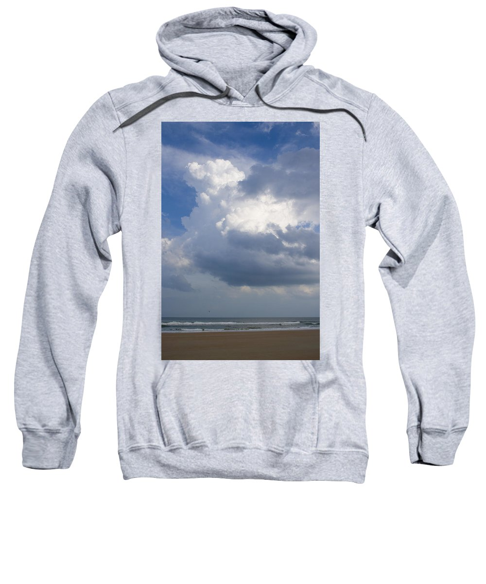 Ocean Nature Beach Sand Wave Water Sky Cloud White Bright Big Sun Sunny Vacation Relax Blue Sweatshirt featuring the photograph Vessels In The Sky by Andrei Shliakhau