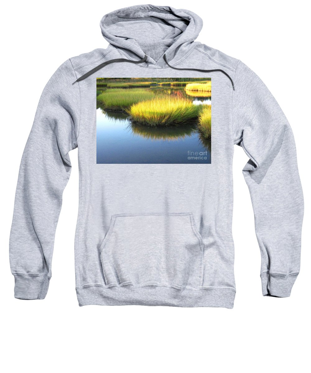 Water Sweatshirt featuring the photograph Vibrant Marsh Grasses by Sybil Staples