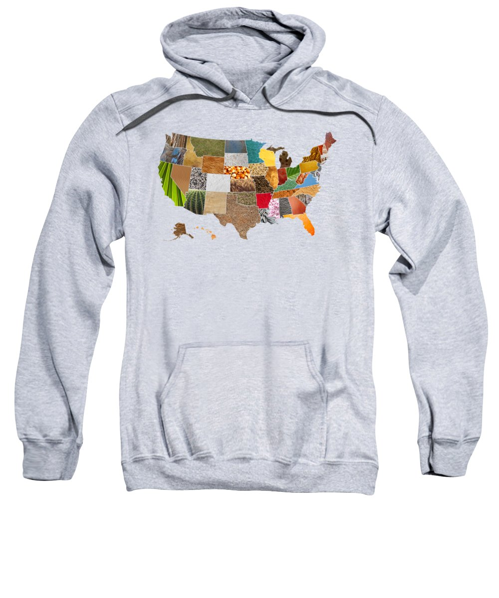 Vibrant Sweatshirt featuring the mixed media Vibrant Textures Of The United States by Design Turnpike