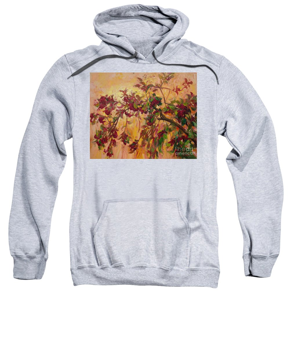 Viburnum Sweatshirt featuring the painting Viburnum by Sergey Ignatenko