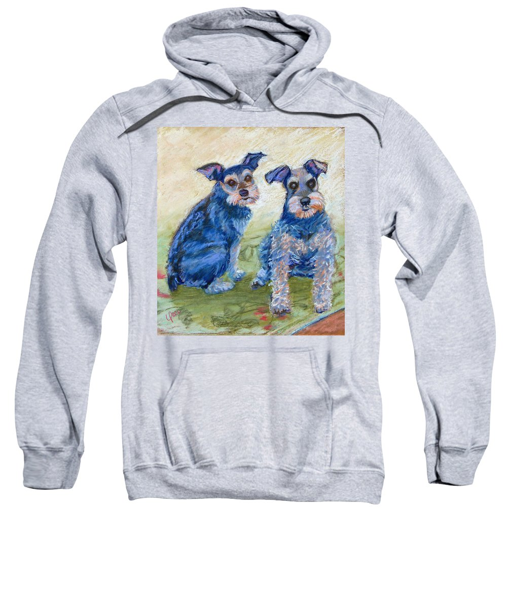 Dogs Sweatshirt featuring the painting Vickie's Pups by Laurie Paci
