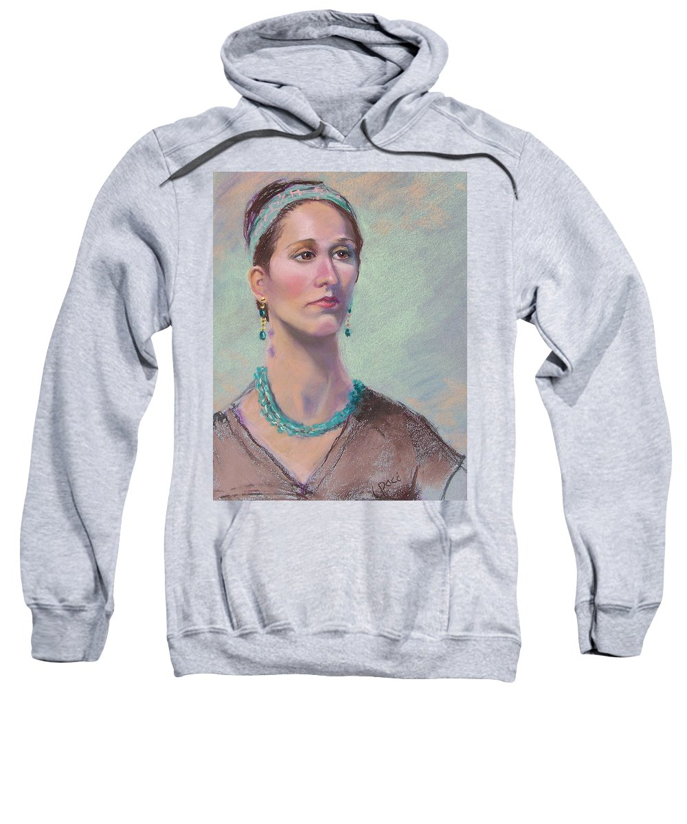 Portrait Sweatshirt featuring the painting Victoria by Laurie Paci