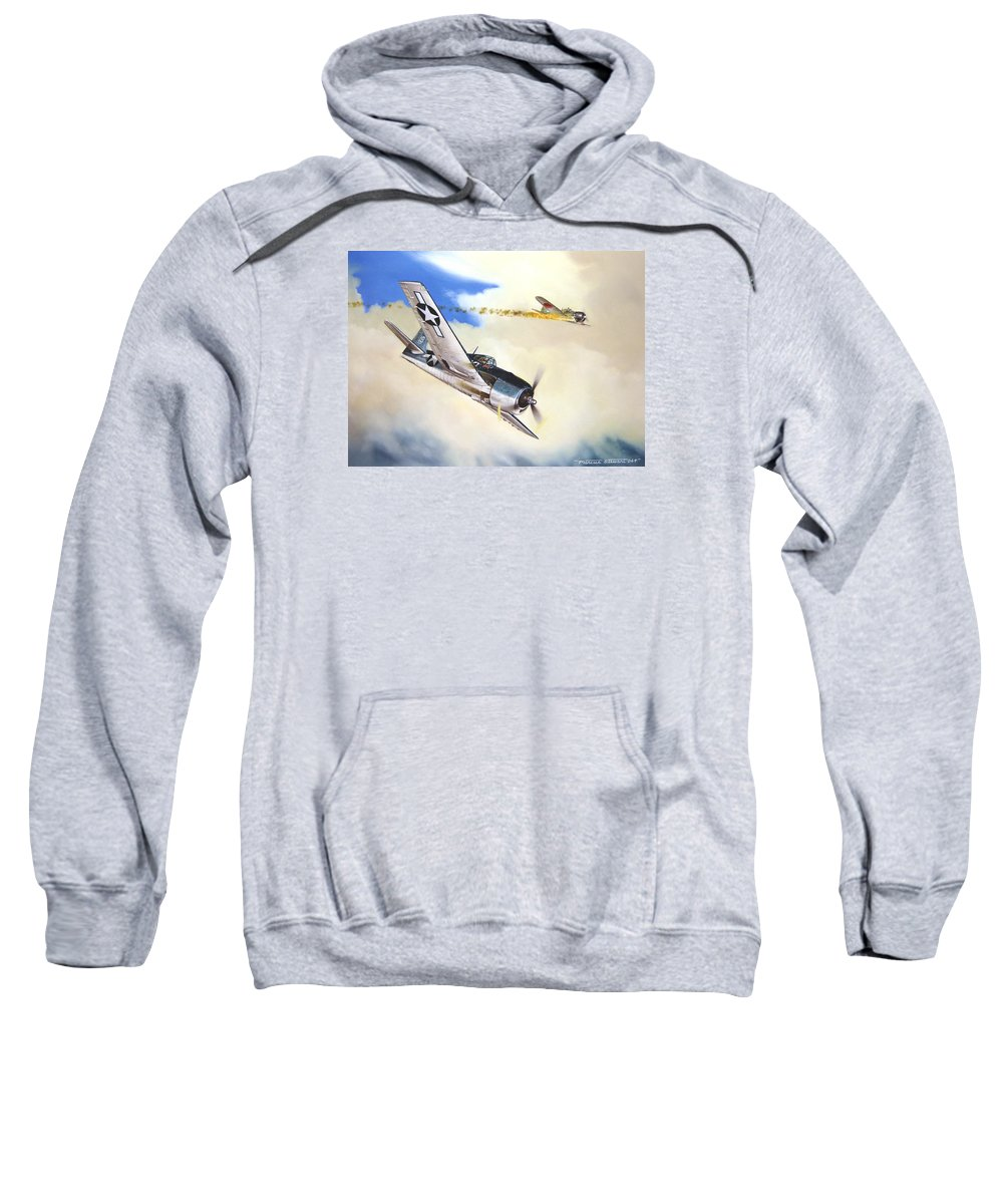 Military Sweatshirt featuring the painting Victory For Vraciu by Marc Stewart