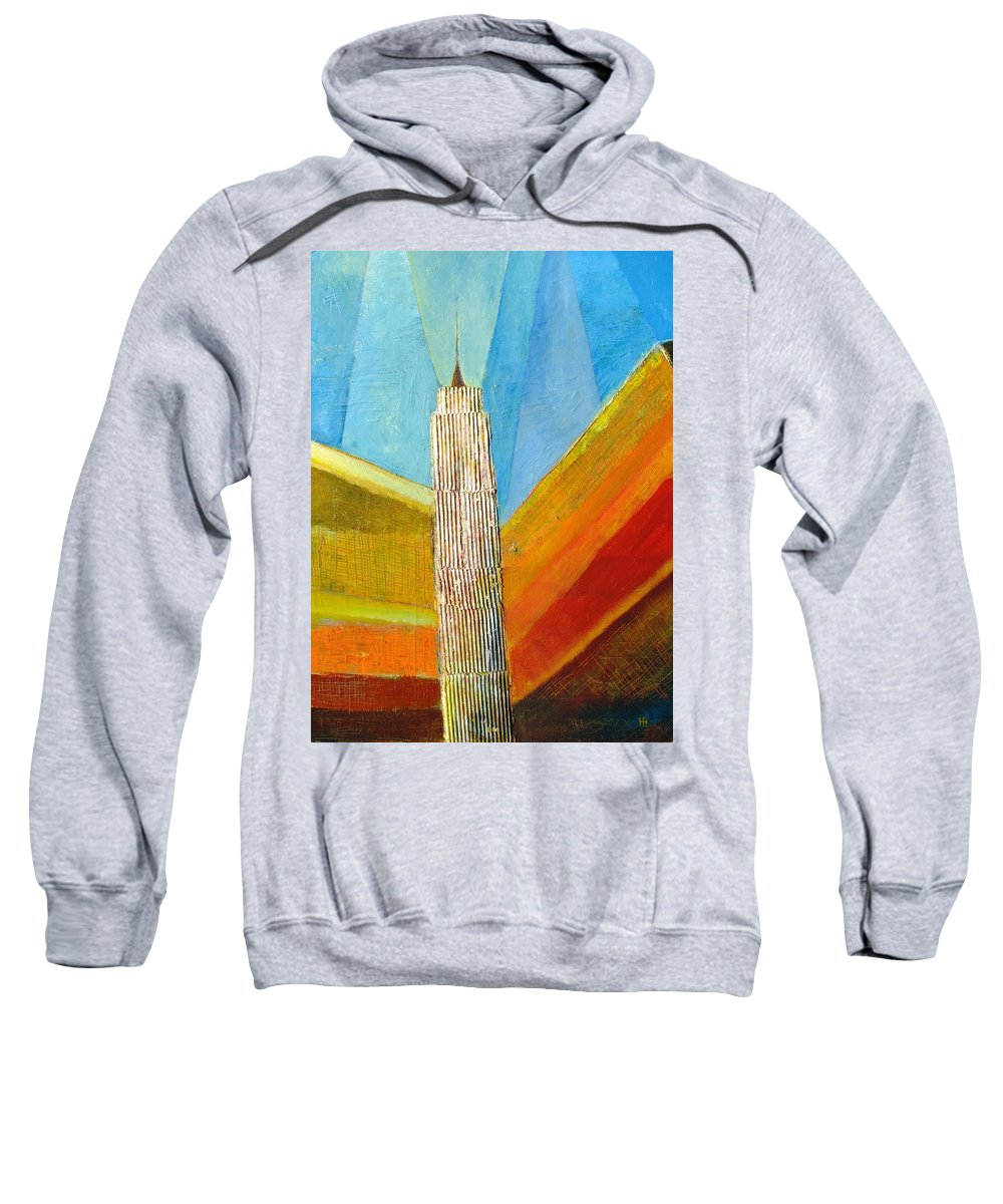 Abstract Cityscape Sweatshirt featuring the painting View From 34th St by Habib Ayat