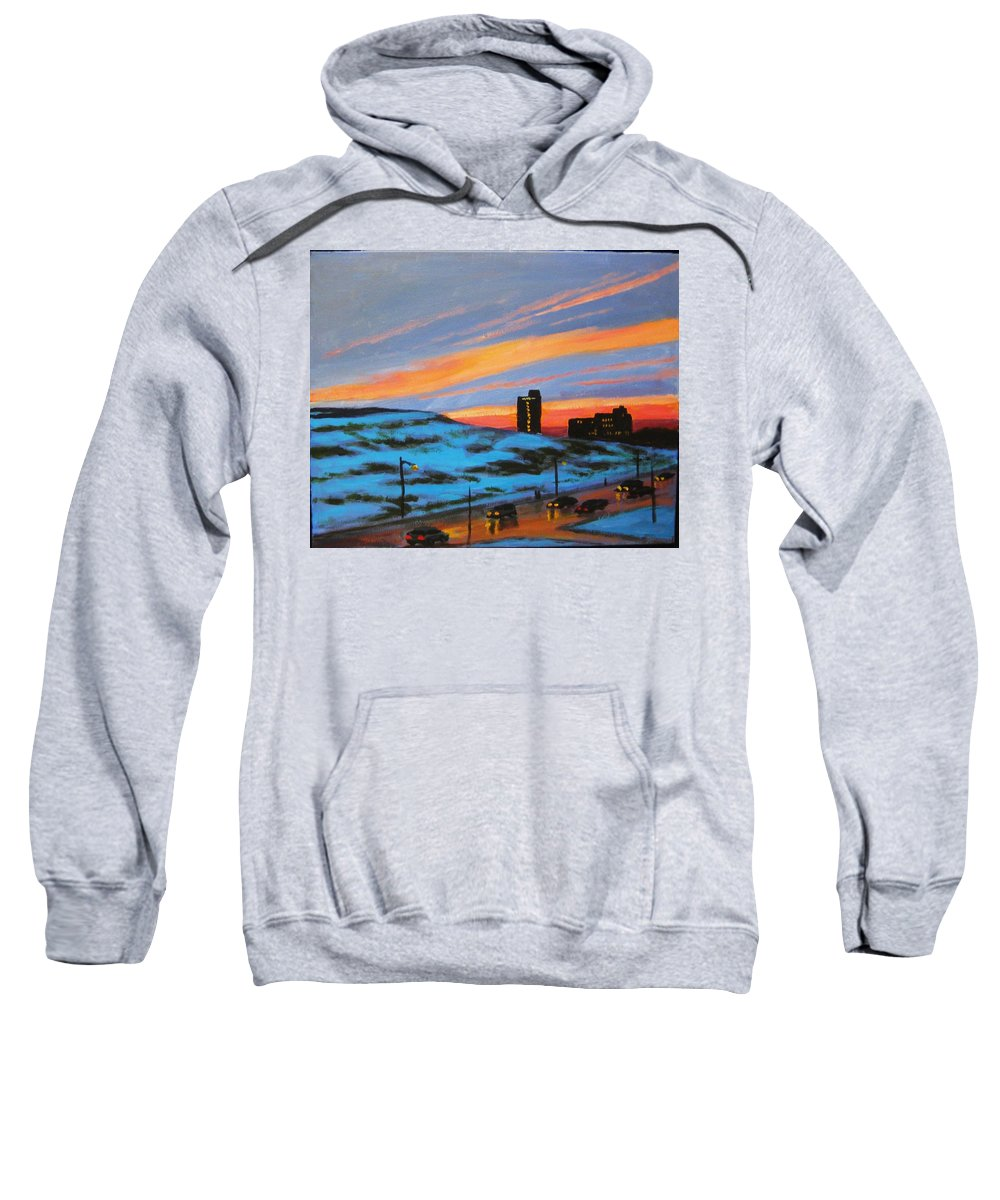 City At Night Sweatshirt featuring the painting View From My Balcony by John Malone