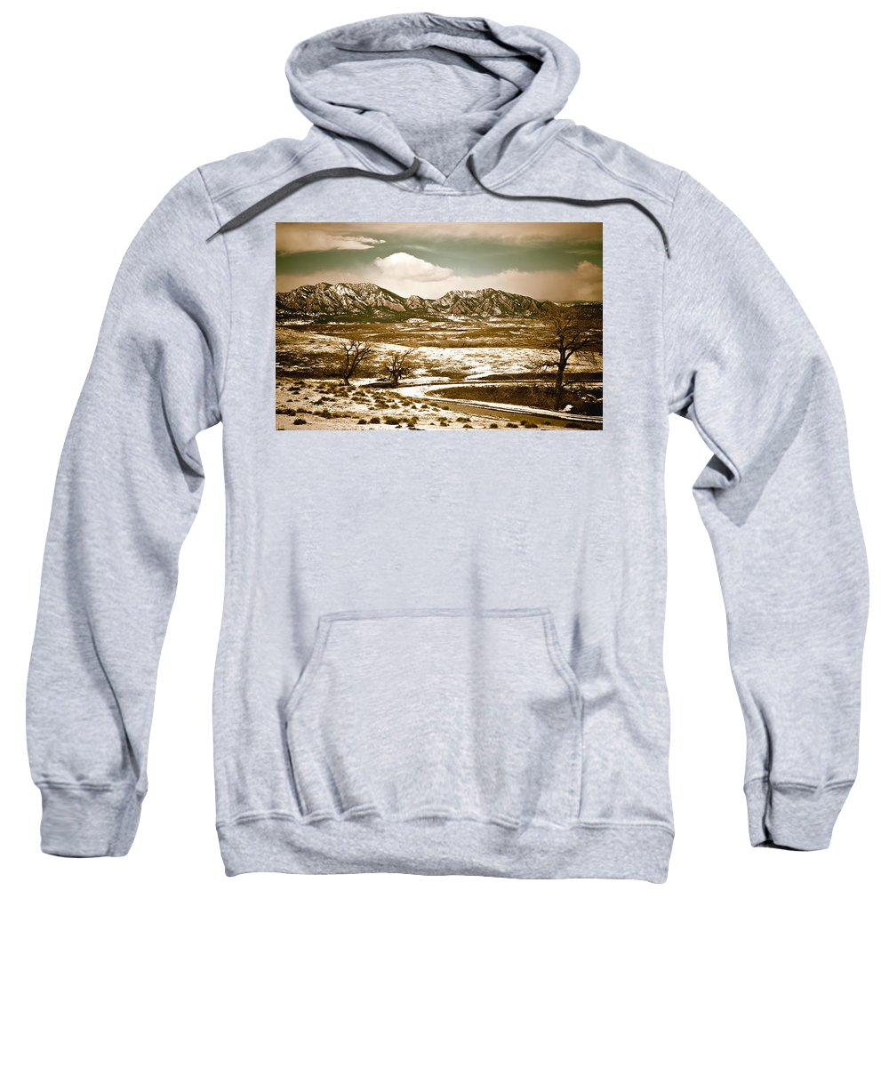 Landscape Sweatshirt featuring the photograph Flatironsview From Superior by Marilyn Hunt