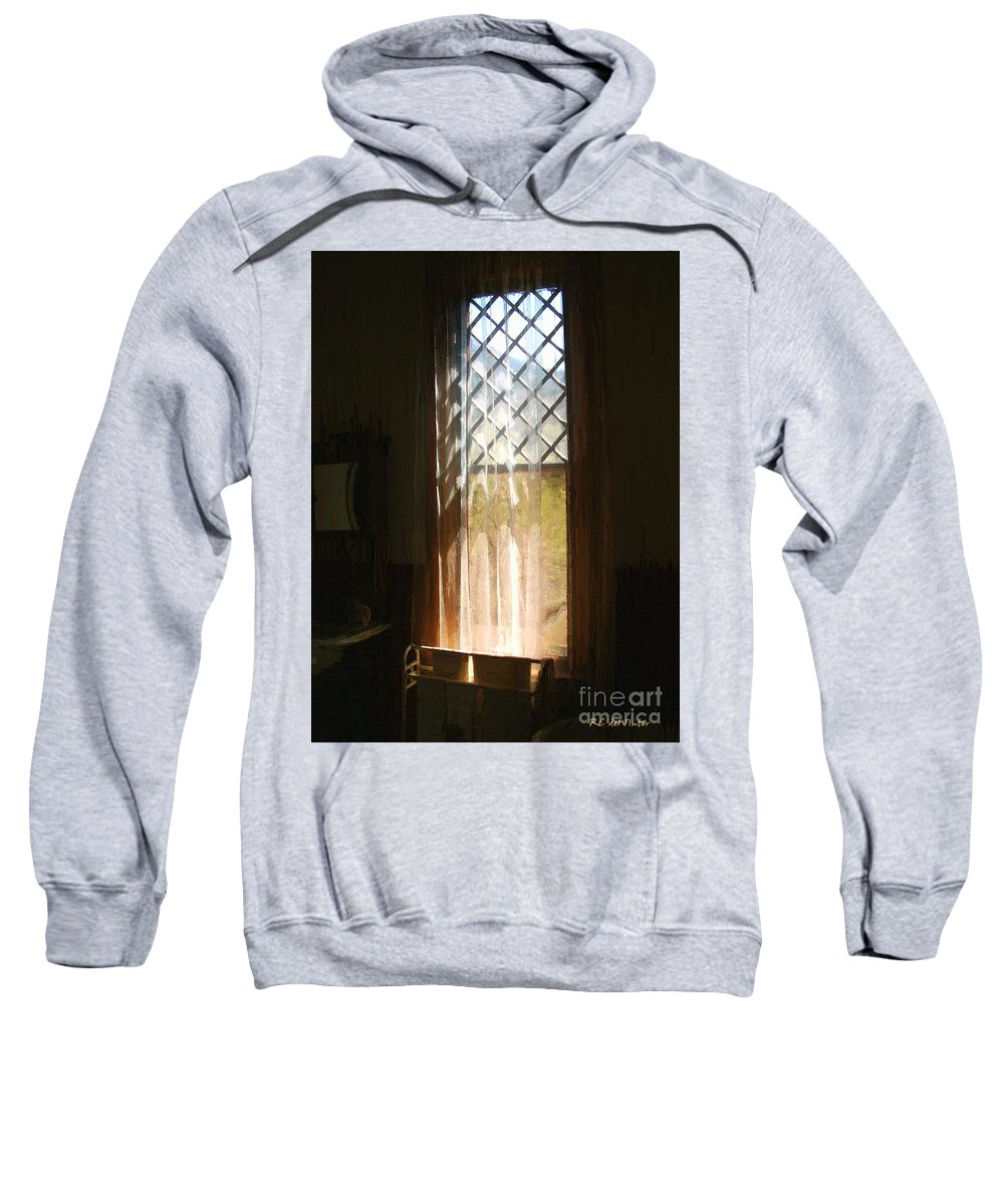 Vintage Sweatshirt featuring the painting View From The Bathroom Window by RC DeWinter