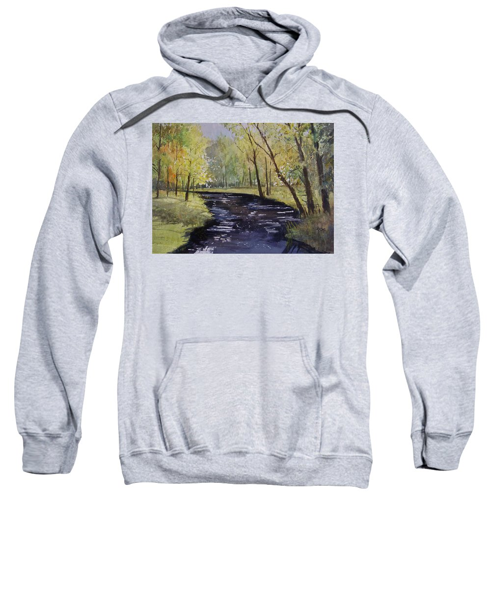 Watercolor Sweatshirt featuring the painting View From The Covered Bridge by Ryan Radke