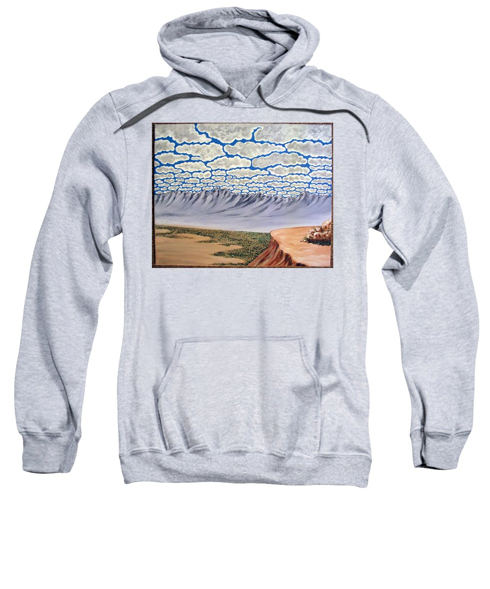 Desertscape Sweatshirt featuring the painting View From The Mesa by Marco Morales