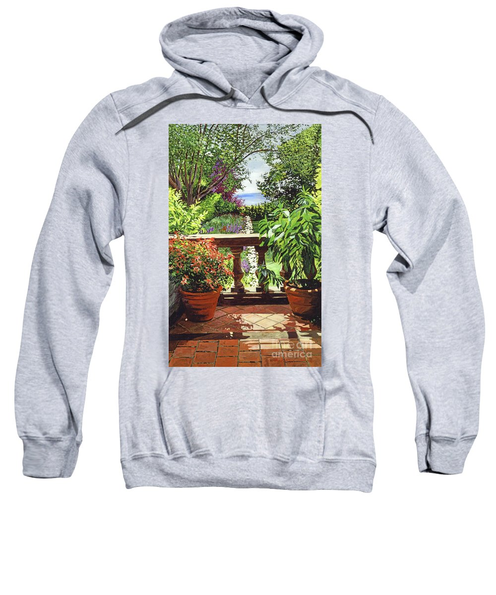 Gardens Sweatshirt featuring the painting View From The Royal Garden by David Lloyd Glover