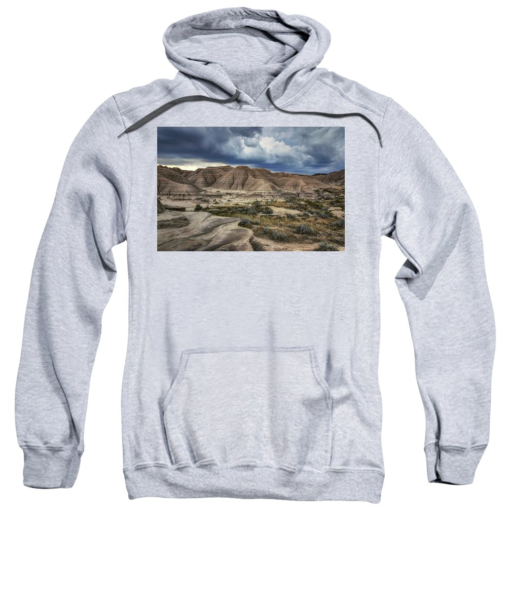 Toadstool Geologic Park Sweatshirt featuring the photograph View From The Top - Toadstool by Nikolyn McDonald