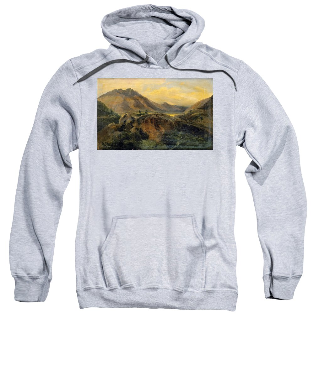 Jules Coignet Sweatshirt featuring the painting View Of Bagneres De Luchon. Pyrenees by Jules Coignet