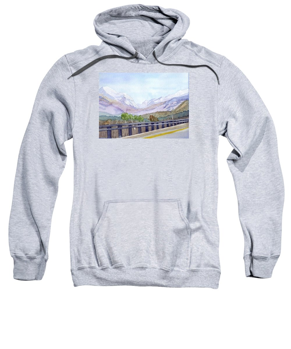Franconia Notch Sweatshirt featuring the painting View Of Franconia Notch by Sharon E Allen