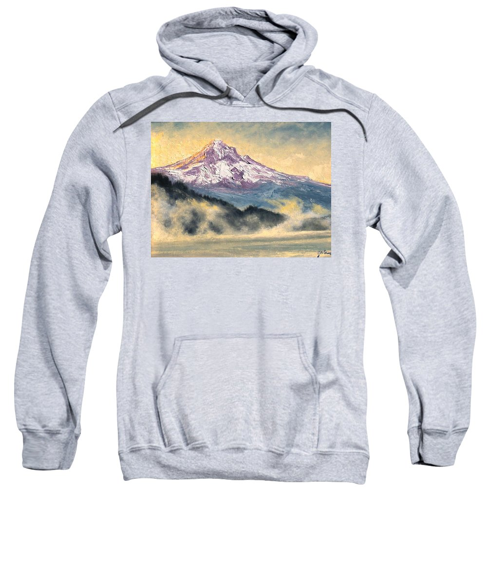 Lanscape Sweatshirt featuring the painting View Of Mt Hood by Jim Gola