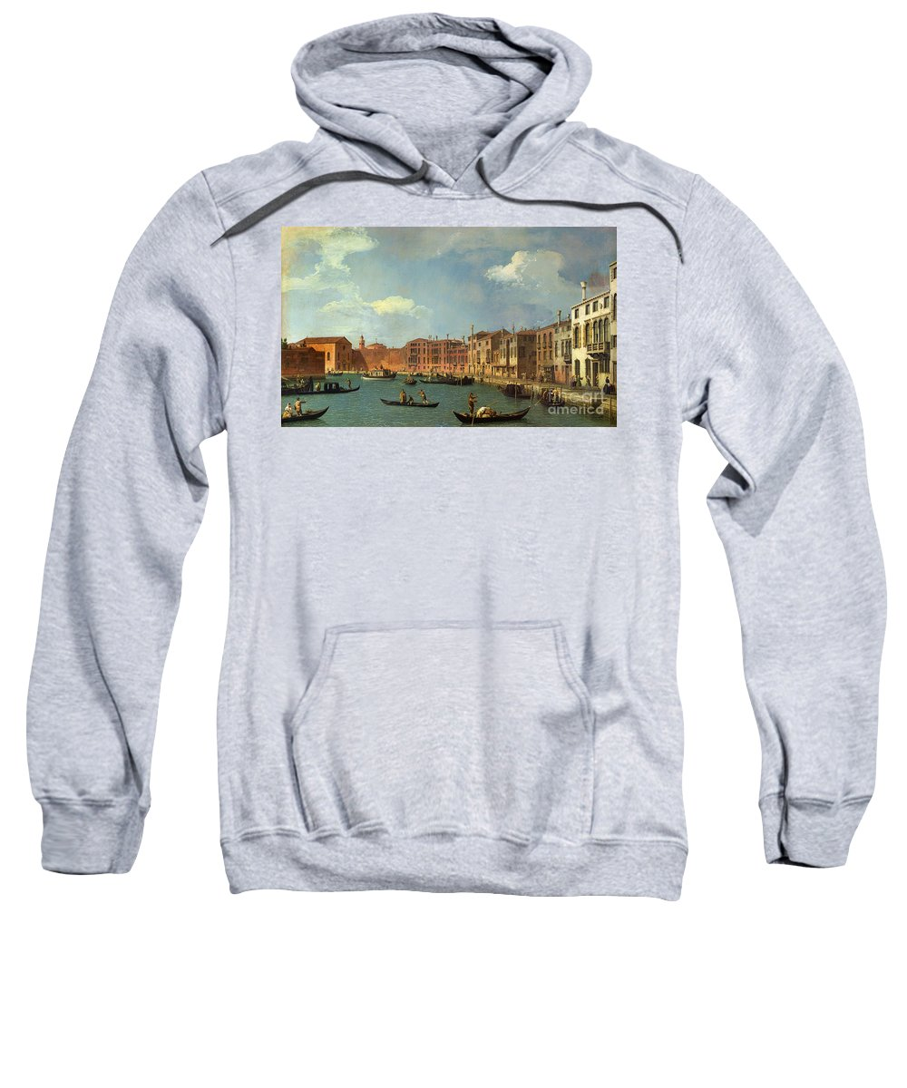 View Of The Canal Of Santa Chiara Sweatshirt featuring the painting View Of The Canal Of Santa Chiara by Canaletto