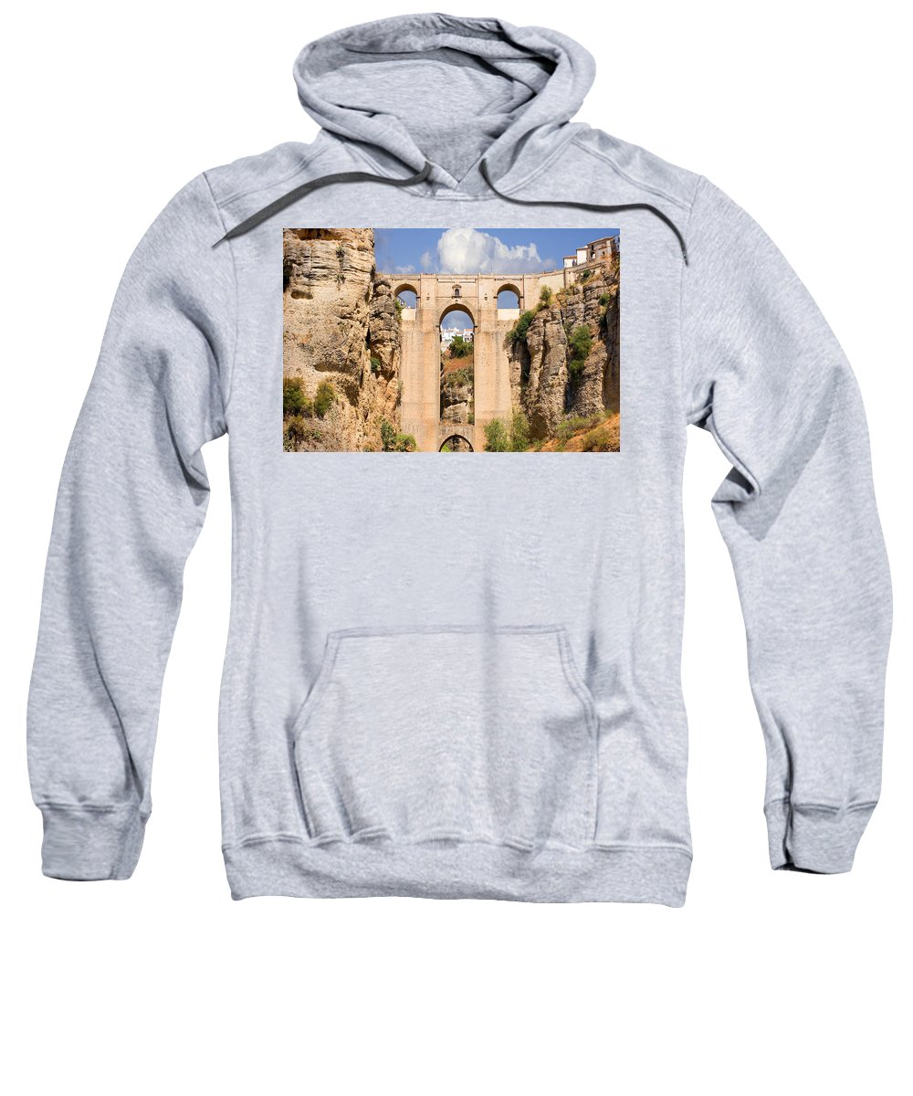 Ronda Sweatshirt featuring the photograph View Of The Tajo De Ronda And The Puente Nuevo Bridge From Across The Valley by Mal Bray