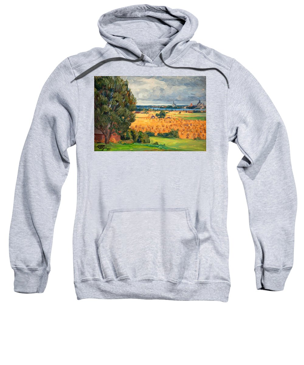 Prins Eugene Sweatshirt featuring the painting View Of Vadstena From The Surrounding Fields by Prins Eugen