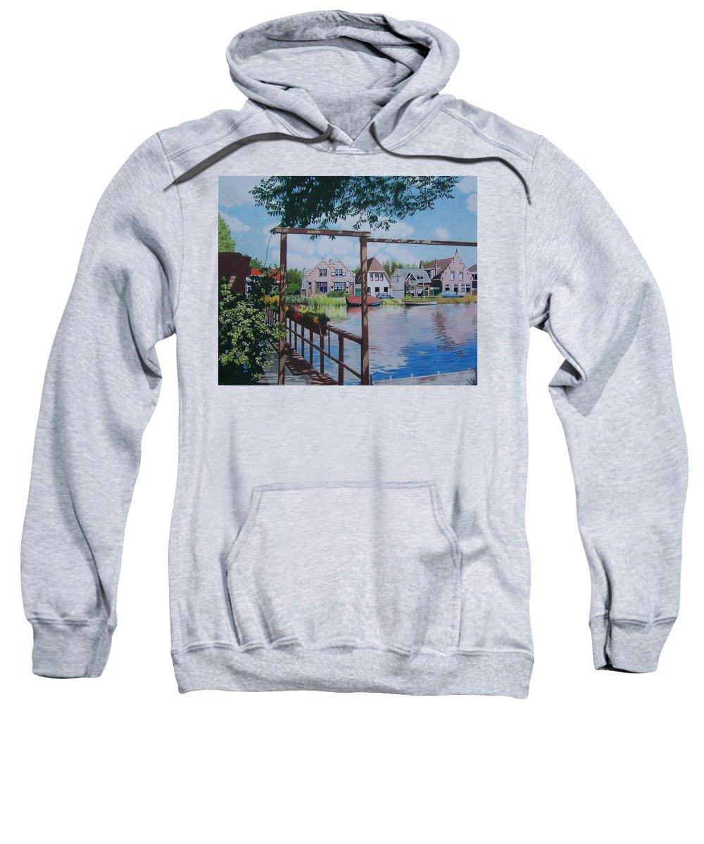 Landscape Sweatshirt featuring the mixed media View On Hillegersberg by Constance Drescher