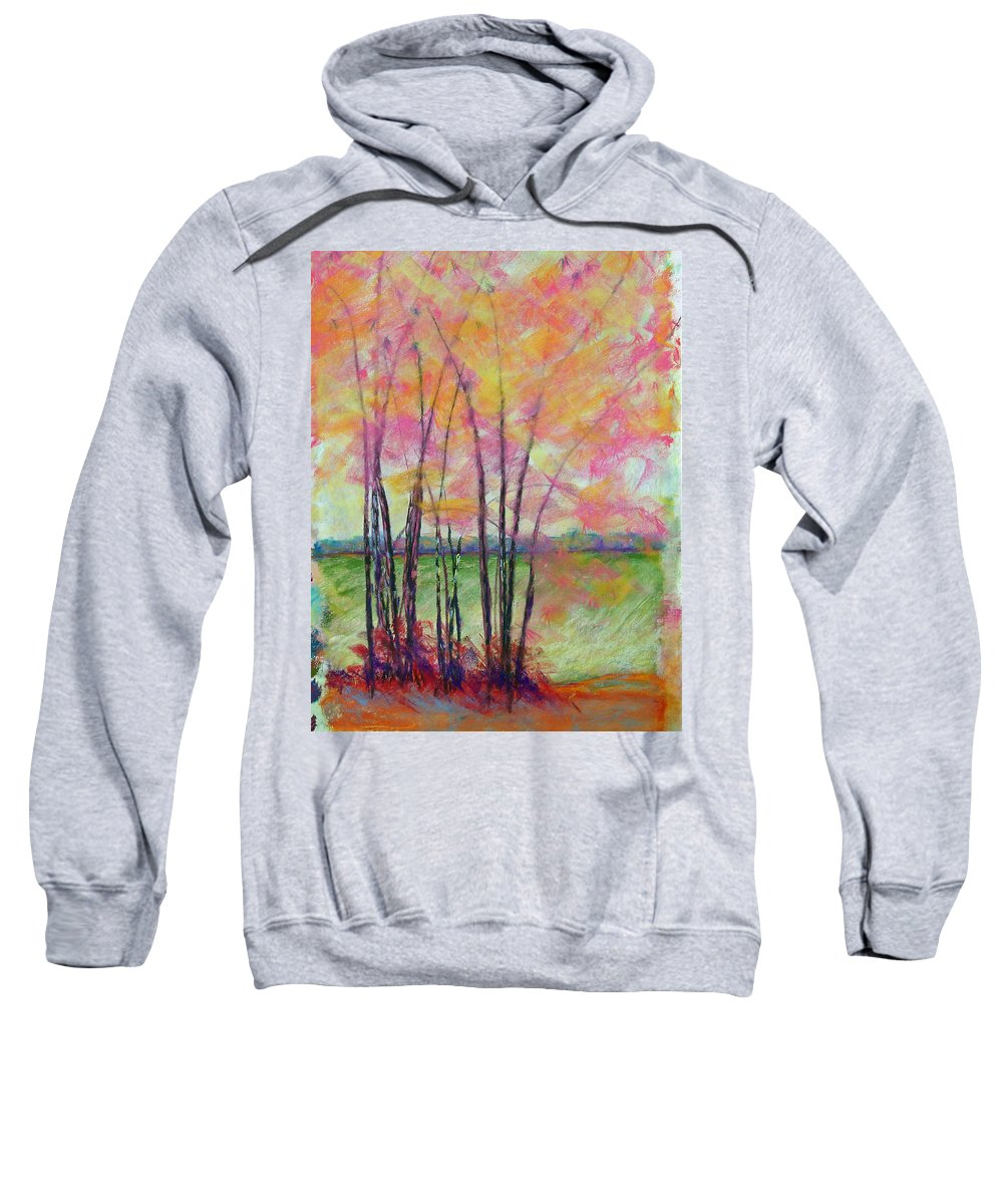 Edison Sweatshirt featuring the painting View Through Bamboo by Laurie Paci