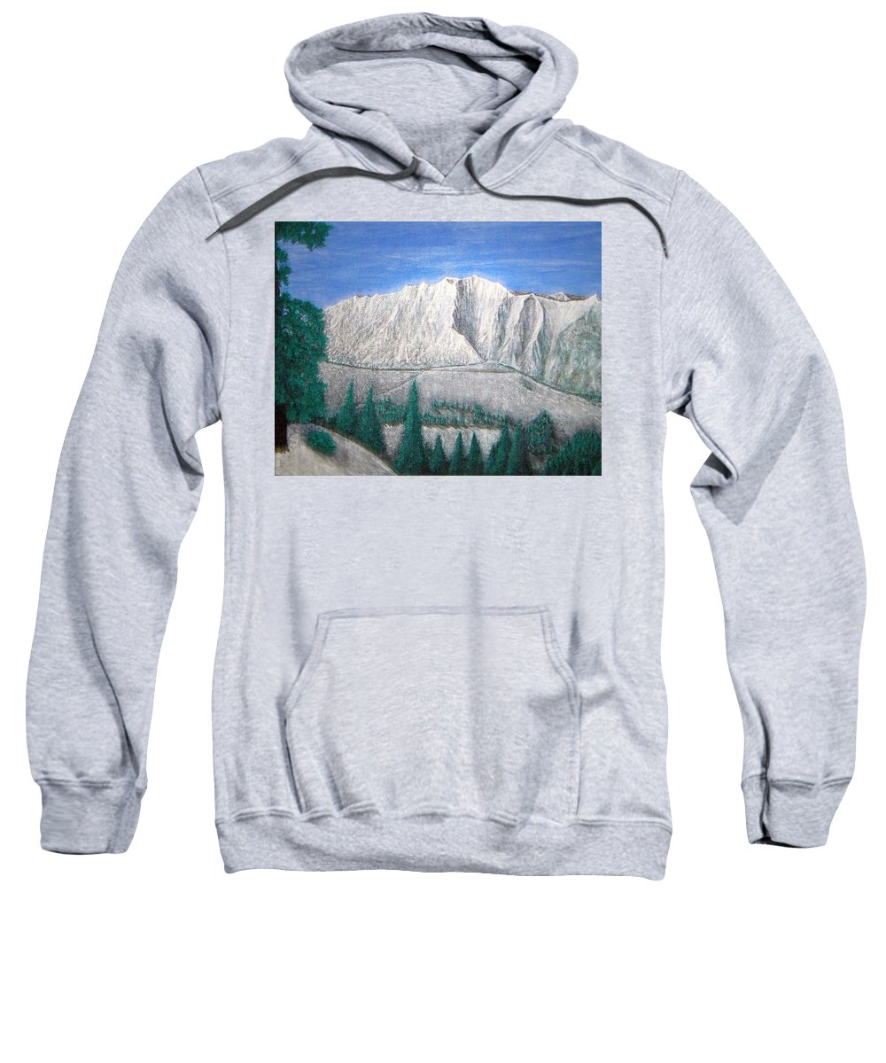 Snow Sweatshirt featuring the painting Viewfrom Spruces by Michael Cuozzo