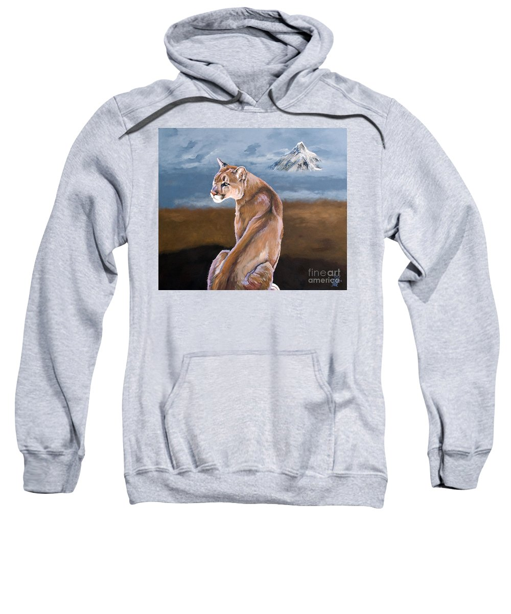 Indigenous Wildlife Sweatshirt featuring the painting Vigilance by J W Baker