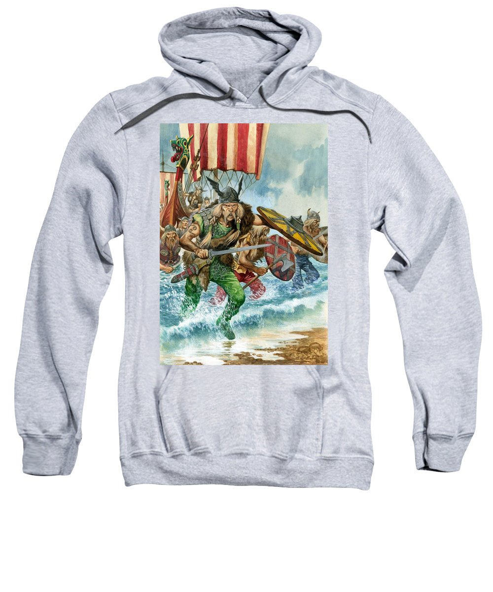 Vikings; Arriving; Landing; Ship; Boat; Sea; Charge; Headgear; Sailing; Sword; Moustache; Viking; Norse Sweatshirt featuring the painting Vikings by Pete Jackson