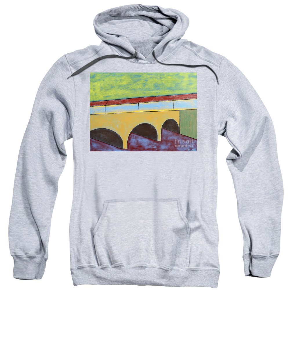 Town Sweatshirt featuring the painting Village And Bridge by Patrick J Murphy
