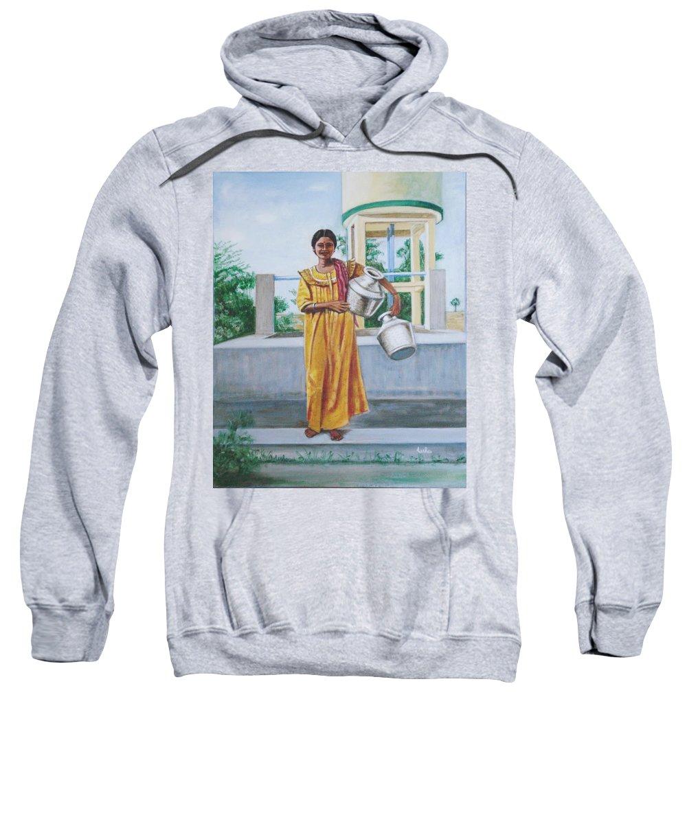 Usha Sweatshirt featuring the painting Village Belle by Usha Shantharam