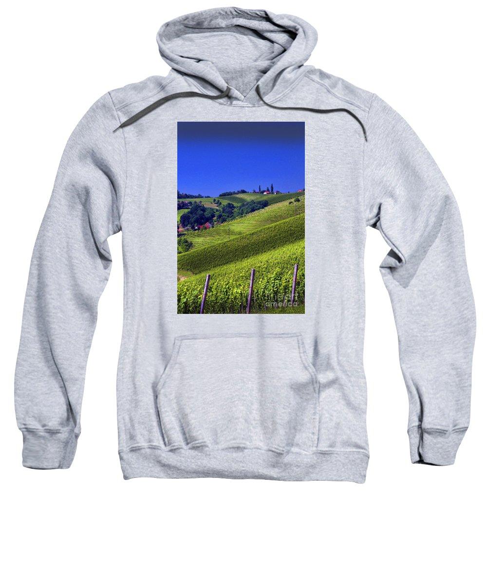 Wine Sweatshirt featuring the photograph Vineyards Of Jerusalem Slovenia by Graham Hawcroft pixsellpix