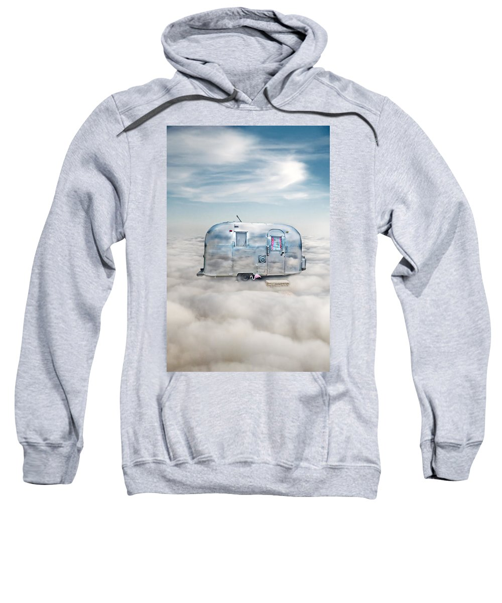 Trailer Sweatshirt featuring the photograph Vintage Camping Trailer In The Clouds by Jill Battaglia