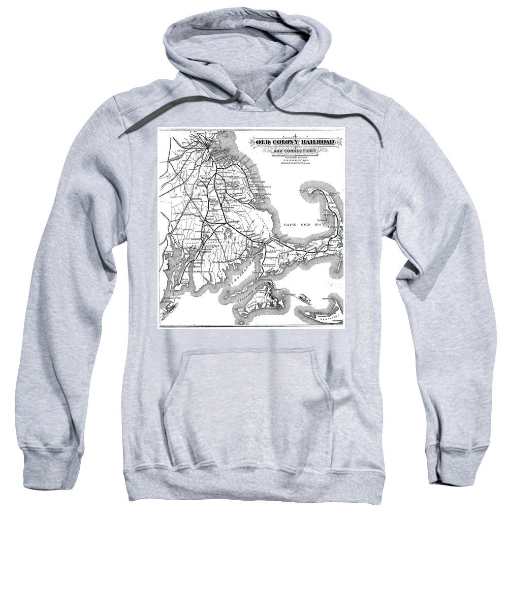 Cape Cod Sweatshirt featuring the drawing Vintage Cape Cod Old Colony Railroad Map by CartographyAssociates