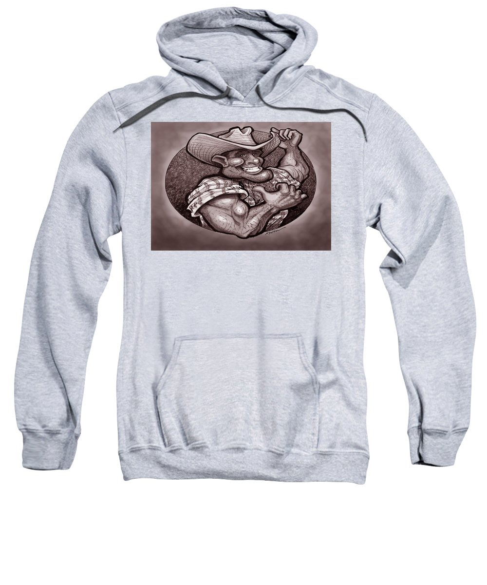 Cowboy Sweatshirt featuring the painting Vintage Cowboy by Kevin Middleton