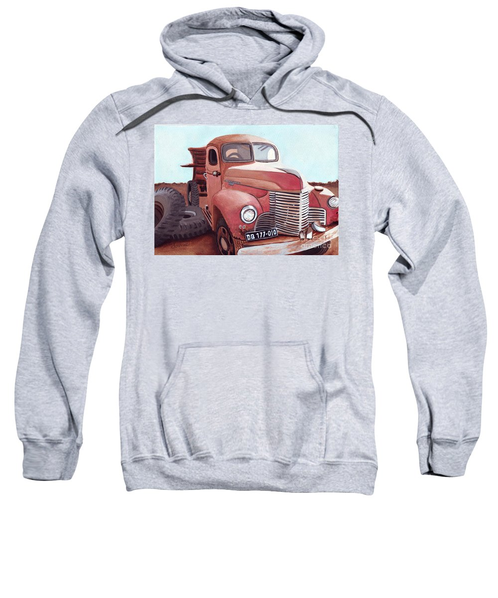 Vintage Sweatshirt featuring the painting Vintage Fire Truck Watercolor Painting In A Local Scrapyard by Sonja Taljaard