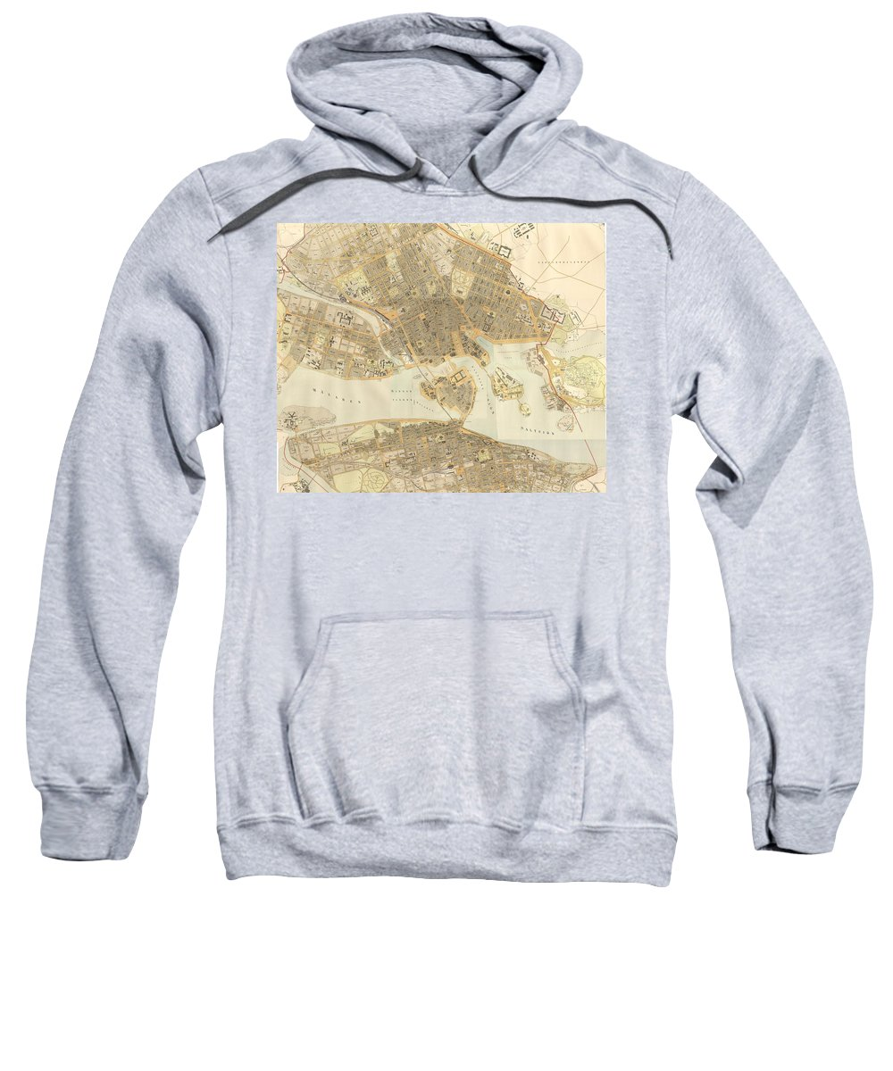 Stockholm Sweatshirt featuring the drawing Vintage Map Of Stockholm by CartographyAssociates