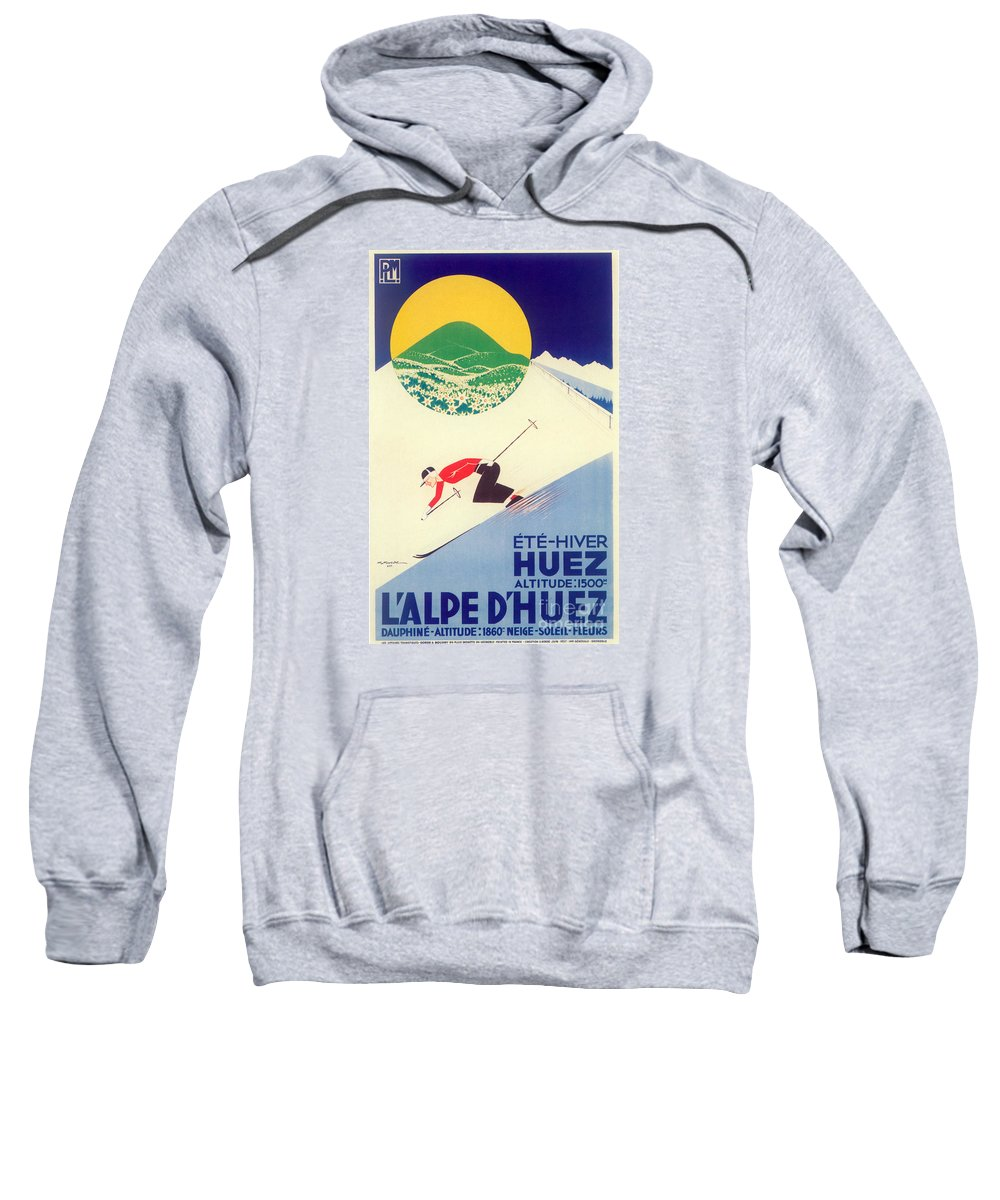 Skiing Sweatshirt featuring the painting Vintage Travel Skiing by Mindy Sommers