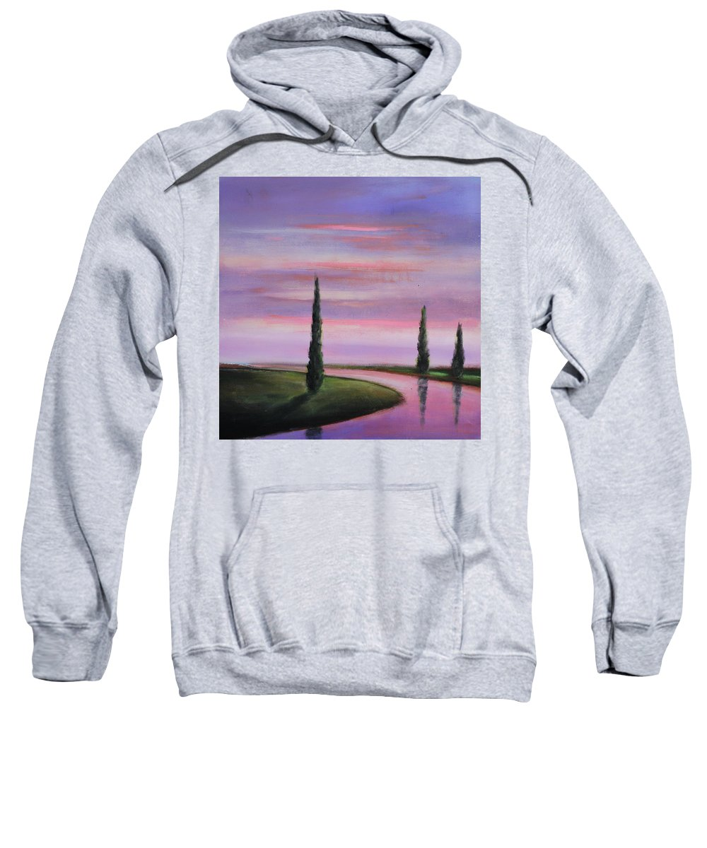 Purple Sweatshirt featuring the painting Violet Sky by Toni Grote