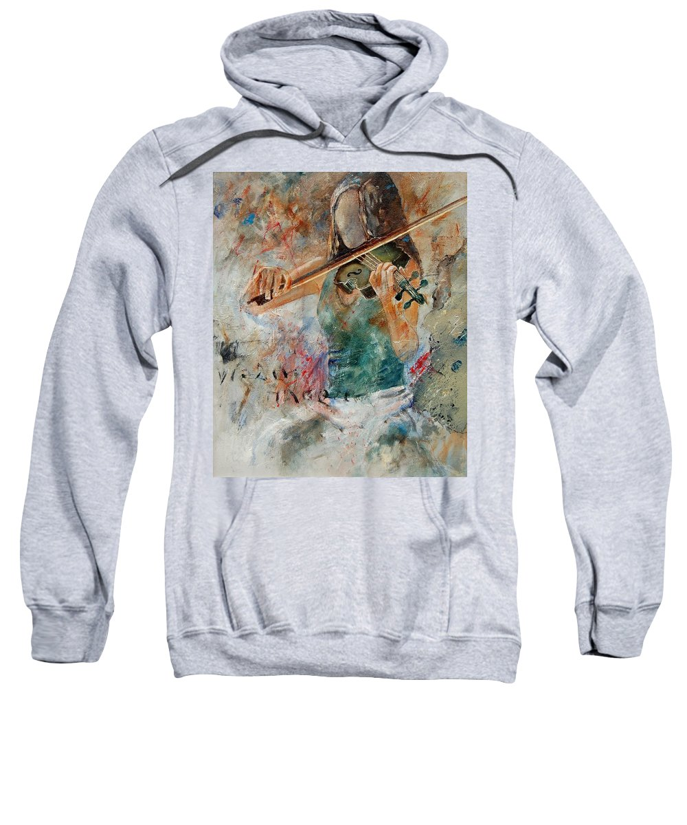 Music Sweatshirt featuring the painting Violinist 56 by Pol Ledent