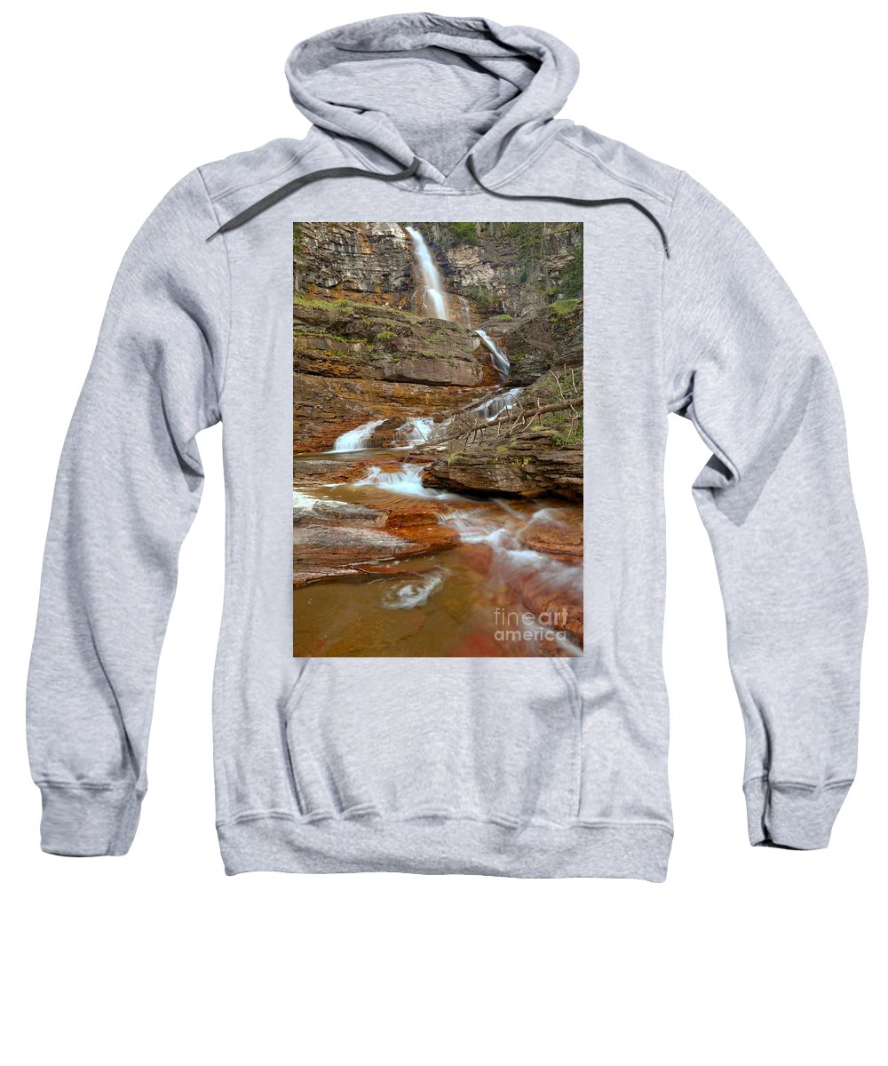 Virginia Falls Sweatshirt featuring the photograph Virginia Fall Glacier Cascades by Adam Jewell