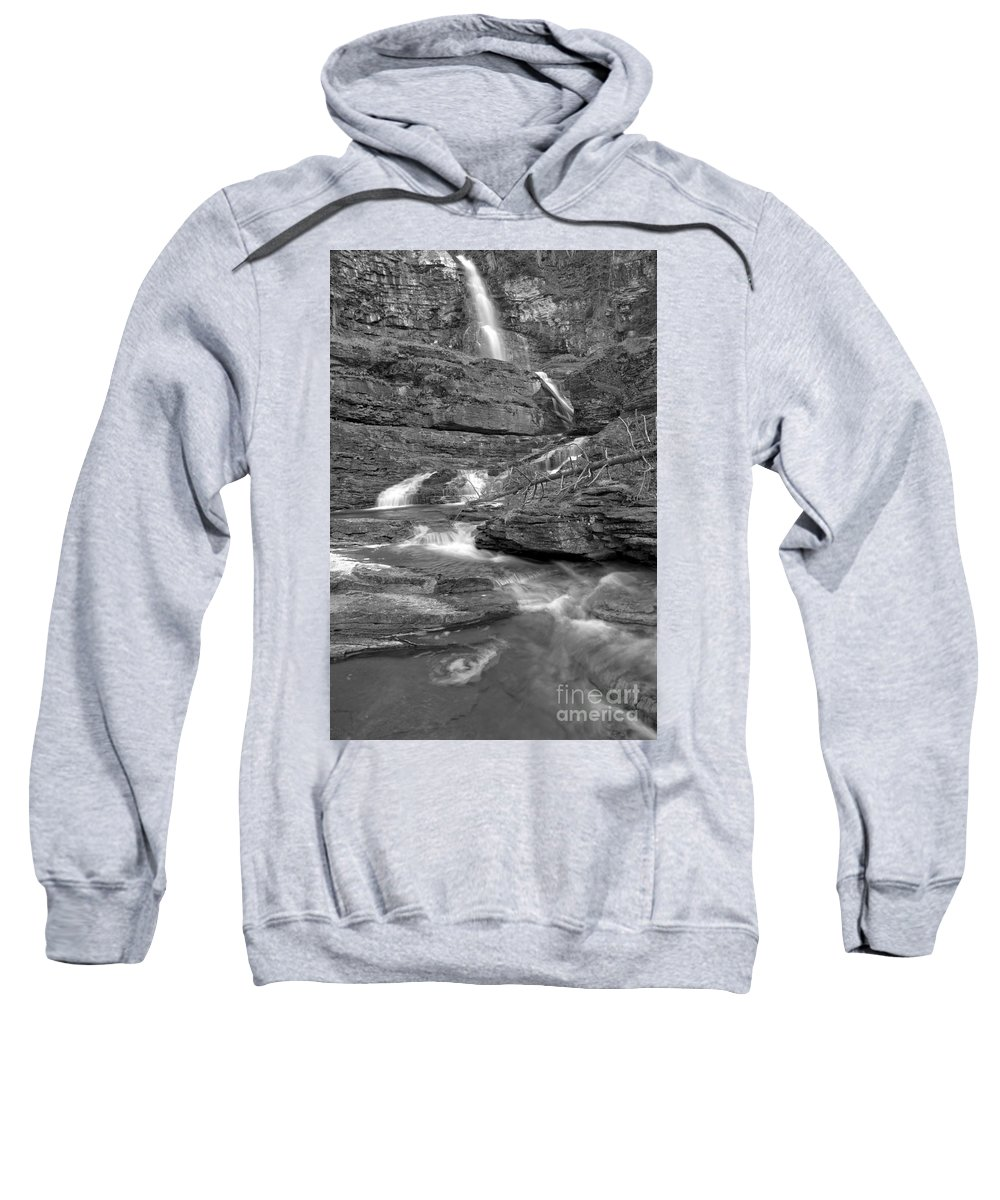 White Sweatshirt featuring the photograph Virginia Falls Switchbacks Black And White by Adam Jewell