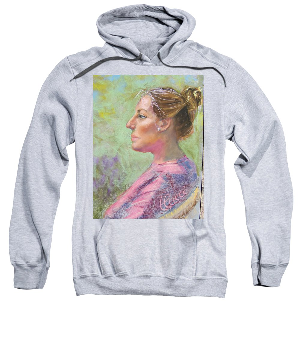Portrait Sweatshirt featuring the painting Virginia by Laurie Paci