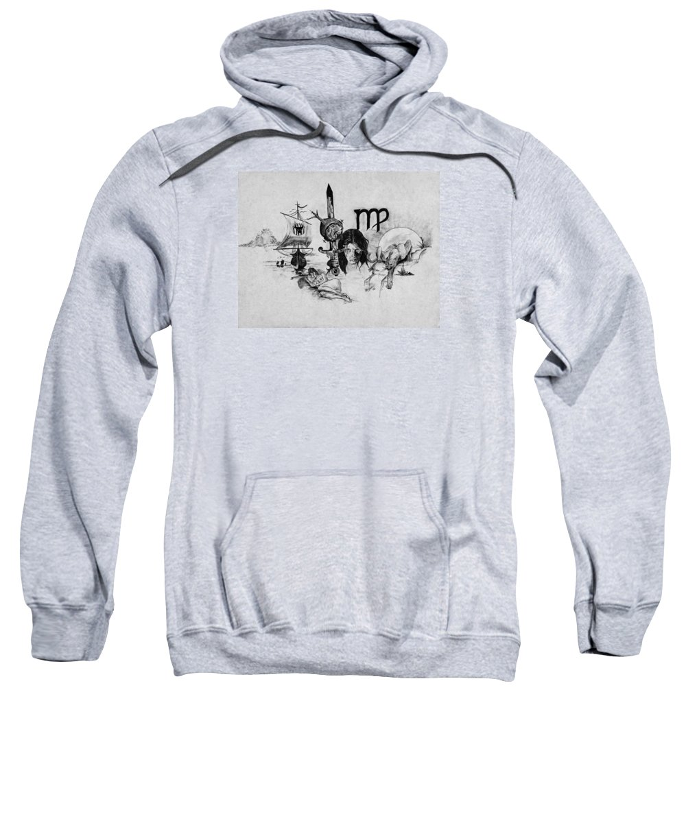Drawing Sweatshirt featuring the drawing Virgo State Of Mind by Chris Steele