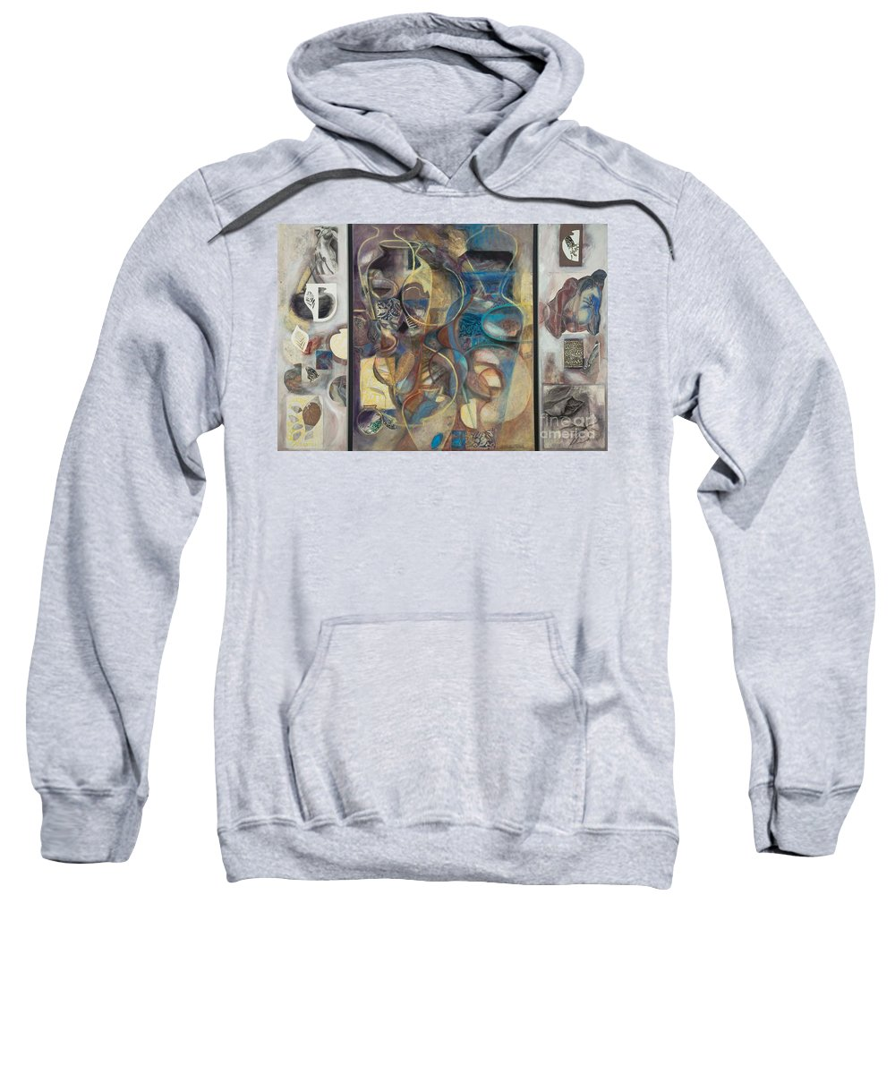 Vessels Sweatshirt featuring the painting Visible Traces by Kerryn Madsen-Pietsch