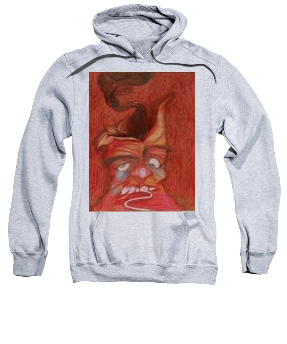 Oil Pastel Drawing Sweatshirt featuring the pastel Volcano by Pooja Patel