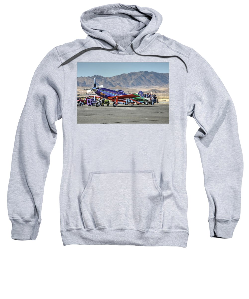 Voodoo Engine Start Sweatshirt featuring the photograph Voodoo Engine Start Sunday Gold Unlimited Reno Air Races by John King