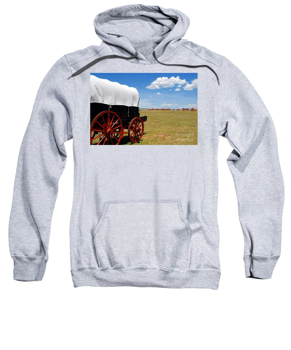 Fort Union New Mexico Sweatshirt featuring the photograph Wagon At Old Fort Union by David Lee Thompson