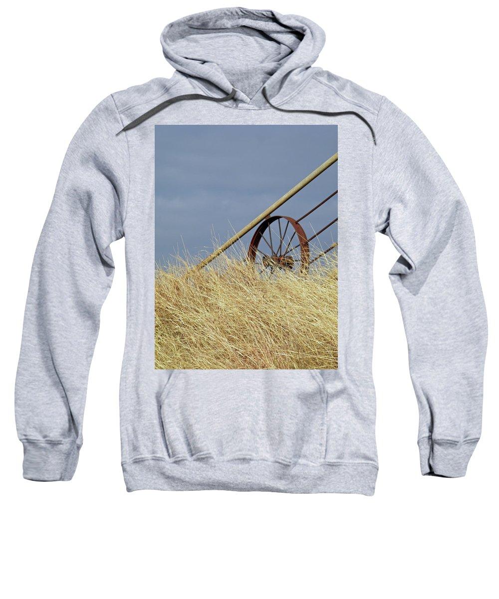 Wagon Wheel Sweatshirt featuring the photograph Wagon Wheel Fence by Gale Cochran-Smith