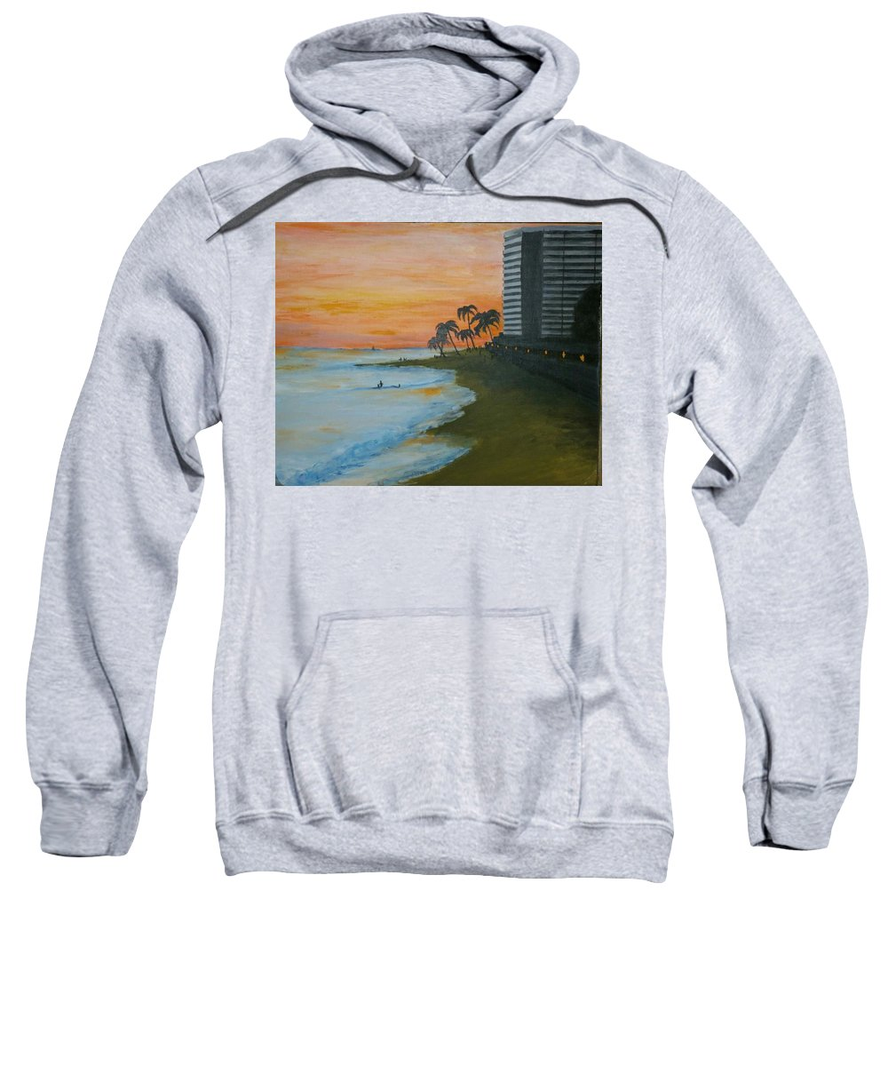Sweatshirt featuring the painting Waikiki Beach by Jan Marie